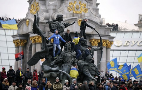 Supporters of EU integration hold a rally in the Maidan Nezalezhnosti or Independence Square in central Kiev